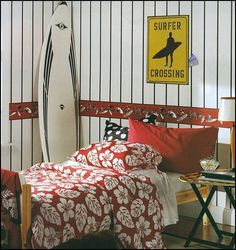 Teenagers bedroom with 'surfer' theme
