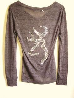 86ce9b595cc0 Absolutely Stunning Rhinestone Browning on Dark Grey V Neck Burn Out  Short Long Sleeve Shirt