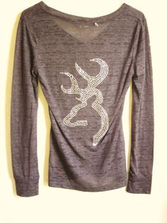 Absolutely Stunning Rhinestone Browning on Dark Grey V Neck Burn Out Short/Long Sleeve Shirt Size S,M & L
