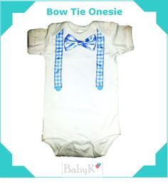 Bow Tie and Suspender Onesie for little boys. Made with love by BabyK. Tie Onesie, Onesies, Little Boys, Boy Outfits, Custom Made, Bows, Clothes, Fashion, Boyish Outfits