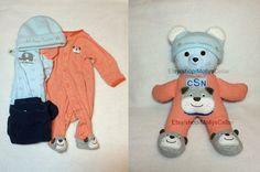Custom teddy bear custom sleeper bear, bear from sleeper, bear from baby clothes, DIY memory bear