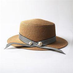 78128ab2ec115 Lady Boater sun caps Ribbon Round Flat Top Straw beach hat Panama Hat  summer hats for women straw hat snapback