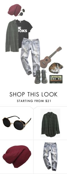 """x"" by drugxpizza on Polyvore featuring mode, Topshop, ASAP, Madewell, INDIE HAIR, Dr. Martens, women's clothing, women's fashion, women et female"