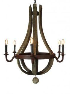 Oak Barrel chandelier - 6 arms