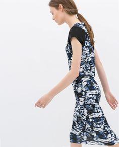 ZARA - WOMAN - PRINTED ZIP-BACK TUBE DRESS #fashion