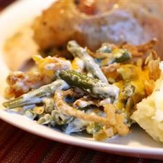 Grandma's Green Bean Casserole | Easy, creamy green bean casserole that doesn't use canned soup. Make it for Thanksgiving or any festive family dinner.