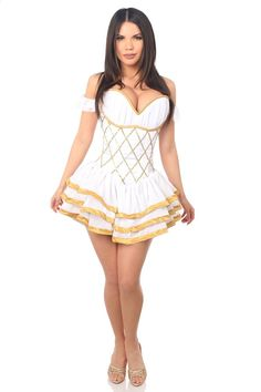 f72b54ca9e4 Daisy Top Drawer Steel Boned Greek Goddess Corset Dress Costume