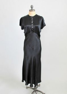 1930s Art Deco Satin Evening Dress & Jacket
