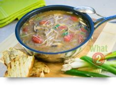 Beef & Beanthread Noodle Soup, basil & potatoes: A delicious hearty soups and healthy too Beef Noodle Soup, Bean Soup, What To Cook, Cheeseburger Chowder, Basil, Noodles, Beans, Potatoes, Cooking