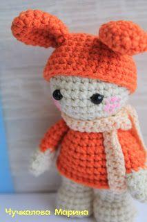 Amigurumi Doll in a Rabbit Ears Hat  ~ Free Russian Pattern