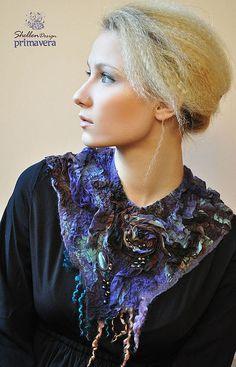 """Колье, бусы ручной работы. Ярмарка Мастеров - ручная работа """"Purple. Primavera"""". Украшение на шею. Нуно-войлок.. Handmade."""