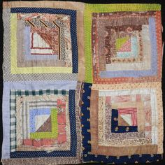 Primitive Antique Log Cabin Cutter Quilt PC Brown Green Nice Old Fabrics 11   eBay, blarneyhouse
