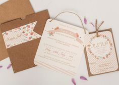 Coral and gold floral wedding invitation  kraft by normadorothy, £3.20