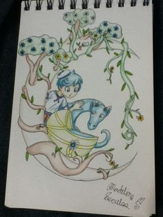 The Finding. #dragon#moon#boy#tree#cradle#flowers#surrealist. ©Madeline Secules#TDQ