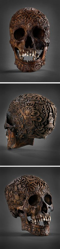 Tibetan carvings on human skull creepy...but cool as shiznet!