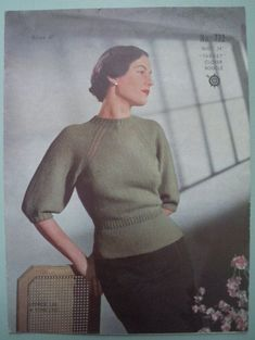 Womens Sweater Knitting Patterns Vintage 1940s knitting pattern - womens sweater / jumper with rag...