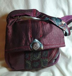 Small Necktie Purse, Burgundy/Maroon/Grey  So Cute!!, 25.00