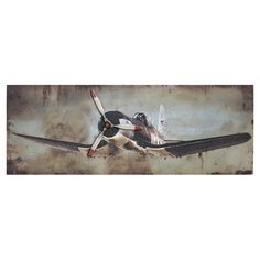 Equally at home in an artful collage or on its own as an eye-catching focal point, this charming wood wall decor features a vintage-inspired airplane for ant...