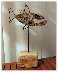 Driftwood fish sculpture