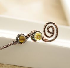 Handmade swirl shawl pin stick in twisted copper with moss green beads