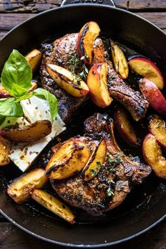 Skillet Balsamic Peach Pork Chops with Feta and Basil. Summer in a skillet and SO GOOD. These pork chops are pan seared and cooked with balsamic vinegar and fresh peaches to create the perfect sweet … Easy Pork Chop Recipes, Pork Recipes, Cooking Recipes, Chicken Recipes, Healthy Recipes, Basil Recipes, Cooking Games, Easy Cooking, Peach Pork Chops