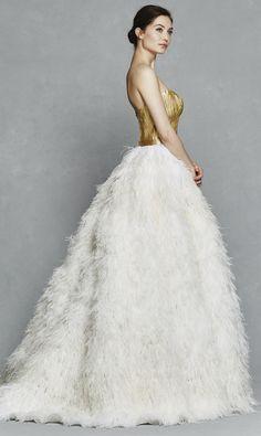 'Olga' Fall 2017 #KellyFaetanini 14 carat gold hand painted goose feathers bodice with ostrich feather ballgown skirt, wedding dress http://www.kellyfaetanini.com