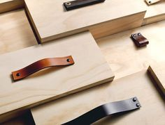 Handcrafted leather drawer pulls and handles by new Melbourne-based leather goods company MadeMeasure. Plywood Furniture, Diy Furniture, Furniture Design, Furniture Plans, Leather Drawer Pulls, Leather Handle, Joinery Details, The Design Files, Wood Design