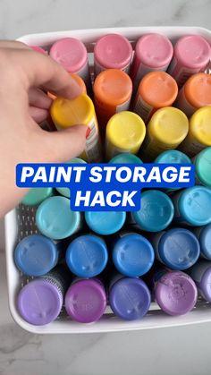 Craft Paint Storage, Paint Organization, Do It Yourself Organization, Art Storage, Storage Hacks, Kids Craft Storage, Fun Diy Crafts, Home Crafts, Crafts To Make