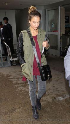 Jessica Alba - Army green jacket w/ leather sleeves, garnet t-shirt, black bag, gray diamond print jeans