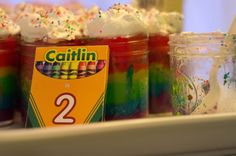 Love these crayon-inspired cake jars at this Art Party! #partytreats