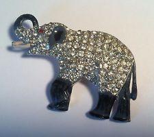 Vintage Figural Coro Rhinestone Enamel Elephant Pin Brooch Rare! 1930's