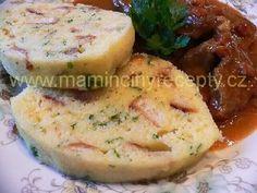 Houskový knedlík z trouby No Salt Recipes, Cooking Recipes, Czech Recipes, Ethnic Recipes, International Recipes, Dumplings, Ham, Side Dishes, Food And Drink
