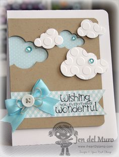 handmade cloud card with positive and negative die cut clouds ... sweet in kraft, blue & white ... like the large embossed circles of the positive die cut clouds ...