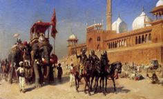 Edwin Lord Weeks (American, 1849-1903) Mughals and his court returning from the mosque at Delhi, India