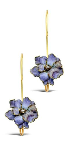 An Antique Pair of Enamel, Diamond and Gold Floral Ear Pendants. Each violet blossom centring a rose-cut diamond amid purple enamel petals, joined to elongated pendant hooks, in 18k gold, French assay marks. #antique