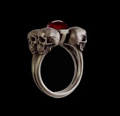 925 Solid Sterling Silver Four horsemen skull Ring by Silveralexa, $145.00