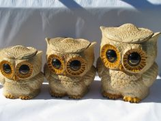 owls decorations   ... hippie vintage handmade ceramic kitchen canisters, fat big-eyed owls