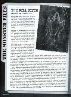 The Bell Witch pg 1 Mythological Creatures, Mythical Creatures, Fantasy Creatures, Scary Stories, Ghost Stories, Paranormal, Bell Witch, British History, Asian History