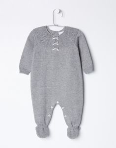 GREY KNITTED OVERALL en All Products y Baby Girl | Neck&Neck Online