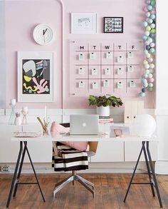 Home Office Desk Decor Ideas . Home Office Desk Decor Ideas . Modern Pink White and Black Home Office Workspace Decor Pink Office Decor, Home Office Decor, Office Furniture, Furniture Plans, Kids Furniture, Cheap Office Decor, Pink Home Decor, Furniture Design, Cheap Office Ideas