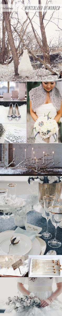 A romantic and timeless wedding theme using elements of winter with intricate textures and forms.  Winter inspiration board, winter theme wedding, white wedding, snow wedding theme