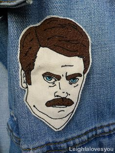 You had me at Meat Tornado  Ron Swanson embroidered patch/brooch. This item can also be transformed into a key fob by swapping the pin with a loop of fabric at the top (please note that no metal ring will be supplied). Please select either Key Fob/Chain OR Patch/Brooch when purchasing.  This item is handmade from start to finish. It is hand drawn before being free-hand machine embroidered - no computerised machinery in sight! Patches will be made to order and follow this design, but will…