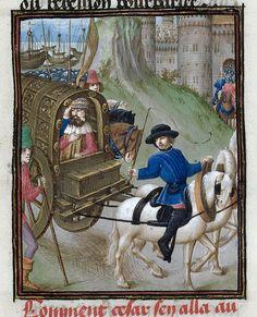 Caesar in a carriage, Bellum Gallicum (British Library Royal 16 G VIII), 1473-1476