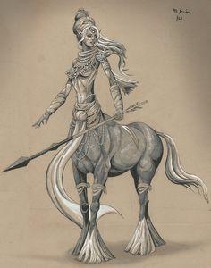 Kim, Michael D - Female Centaur (mikekimart-DeviantArt) Fantasy Creatures, Mythical Creatures, Baldur's Gate Portraits, Female Centaur, Sagittarius Tattoo Designs, Mythological Animals, Mermaids And Mermen, Cute Anime Character, Tattoo Studio