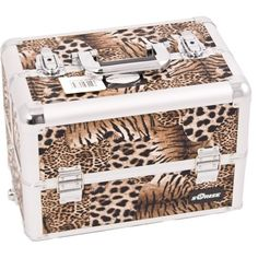 Sunrise E3306 Interchangeable Makeup Artist Train Case 12 Compartments Organizer Kit Shoulder Key, Leopard ** You can get additional details at the image link.