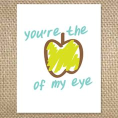 Back to School Apple of My Eye Greeting Card by uluckygirl on Etsy, $2.95