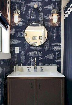 nautical wallpaper accent powder room design - just one wall. Nautical Interior, Nautical Bathroom Decor, Nautical Design, Nautical Home, Coastal Decor, Nautical Style, Seaside Bathroom, Nautical Mirror, Seaside Style