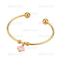 pulsera de acero dorado inoxidable moda con dije trebol rosado -SSBTG924411