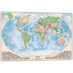 Good Panorama Weltkarte f r Kinder XXL xcm Kinder Weltkarte komplett handgezeichnet und koloriert