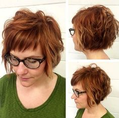 Hair with Bangs – 40 Seriously Stylish Looks Smaller section of short bangs with longer layered bangs on top.Smaller section of short bangs with longer layered bangs on top. Short Wavy Hair, Wavy Bobs, Short Hair With Bangs, Thick Hair, Short Stacked Hair, Layered Bob With Bangs, Short Layers, Hair Bangs, Short Cuts